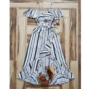 Blush | Striped Cold Shoulder Ruffle Maxi Dress